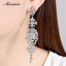 Silver Color Crystal Wedding Long Earrings Floral Shape Chandelier Earrings