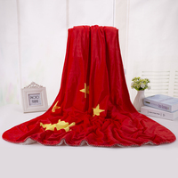 China Flag Design Comfortable Elegant Flannel Blanket Soft Breathable Blanket Coral Throwing Bed Sheets Bedding 130x160cm Size