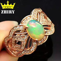Natural Fire Opal Ring Genuine Solid 925 Sterling Silver Precious Gem Stone Rings Rose Gold Plated