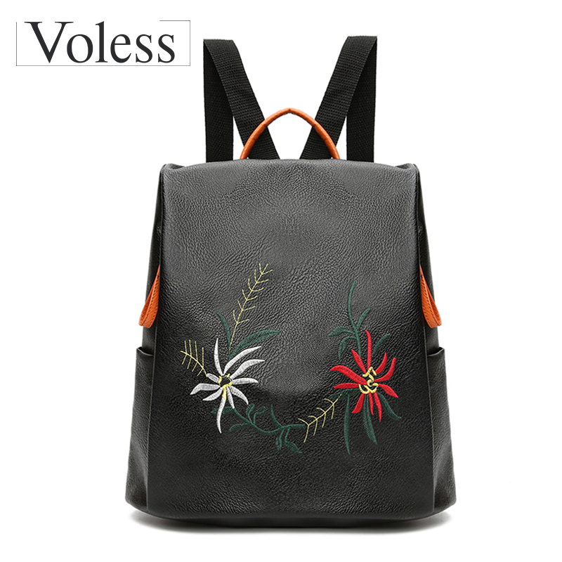 Embroidery Flower Women Backpacks PU Leather Backpacks For Teenage Girls Female Shoulder Bags Women School Backpack Sac A Dos women backpacks fashion pu leather shoulder bag small backpack women embroidery dragonfly floral school bags for girls