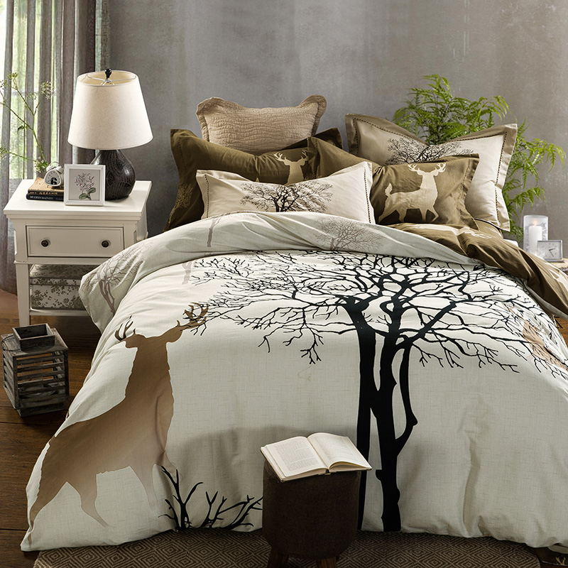 100 Cotton sanding Bedding Sets Queen king Size Bed Linen Bedclothes deer tree Printing Bed Sheet