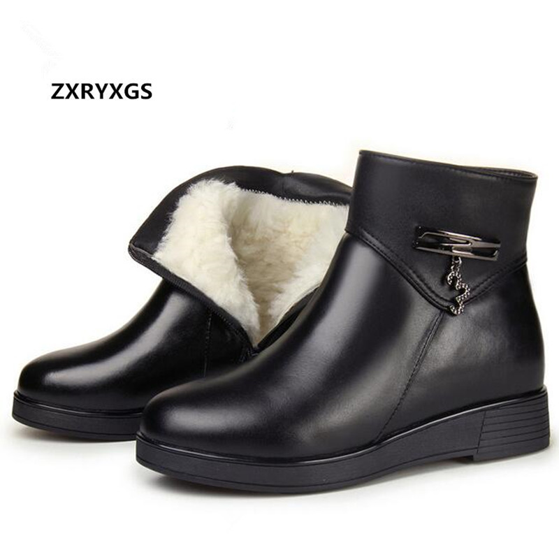100% Natural Full Genuine Leather Boots for Women Shoes Wool Warm Snow Boots 2018 Fashion Winter Women Boots Non-slip Flat Boots extreme high heel 18cm 7 heel lace up patent leather ballet boots unisex hoof heelless sexy fetish thigh over the knee boots