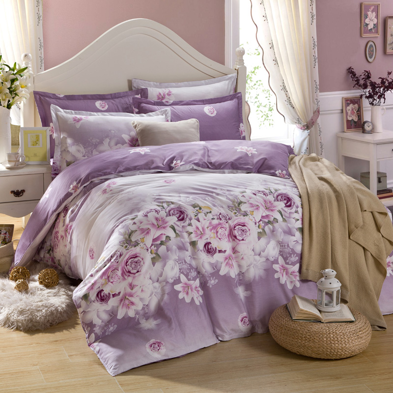 Purple Flower Bedding Set Luxury 100% Cotton Bed Linen Bed Set 4pcs Include Quilt Cover Bed Sheet Pillowcase Queen Size Bedding