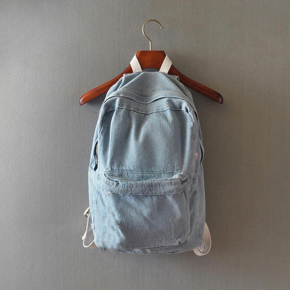 Unisex Denim Travel Canvas Backpack Bags School Bag Rucksack Retro Zipper Bags Two Straps Versatile 10Jul 9