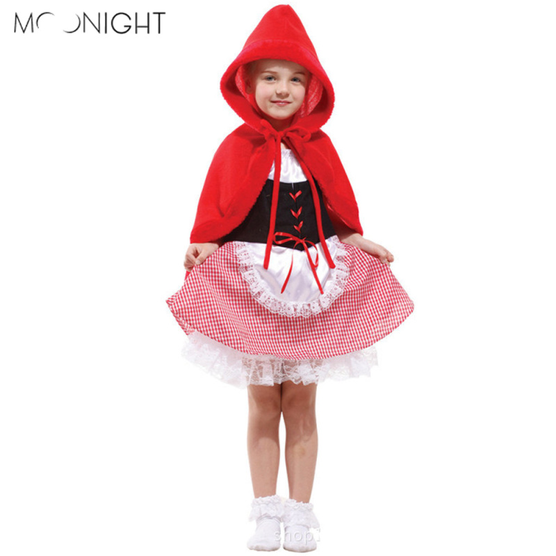 MOONIGHT kids sexy fancy dress girls little red riding hood cosplay fairy tale clothes cute suits children halloween party dress
