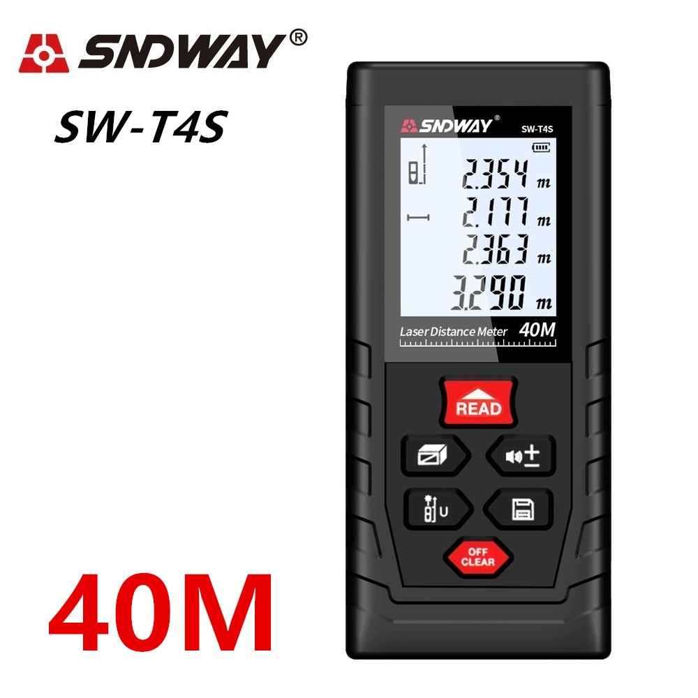 SNDWAY Laser Distance Meter 40-120M with LCD and Auto Power Off to Measure Wide Range Area 16