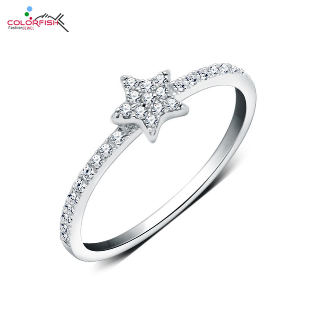 Colorfish 925 Sterling Silver Rings For Women Knuckle Star Shaped
