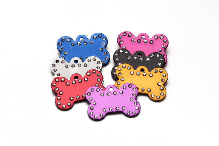 50 pcs lot aluminum bone shape with rhinestone crystal edges pet ID tags for cats personalized