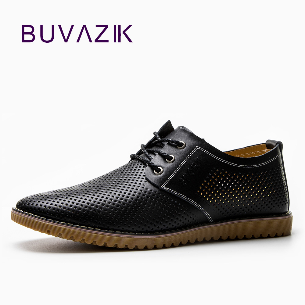 BUVAZIK for summer breathable casual shoes men genuine leather comfortable soft summer oxfords hollow male flats size 42 43 45