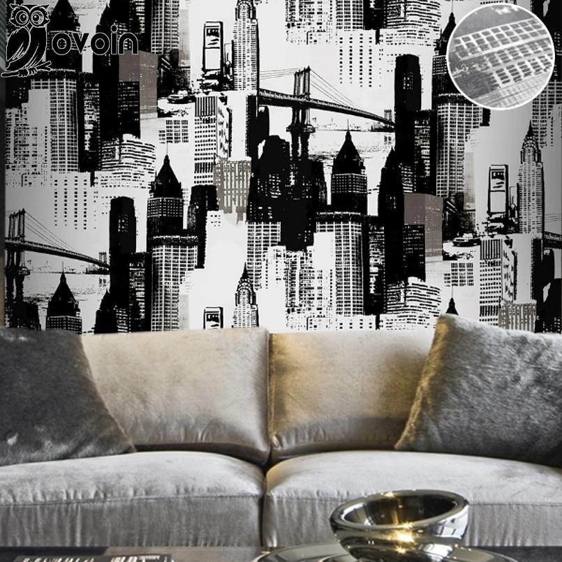 Aliexpress Com Buy 3 Pieces Wall Art New York City: Vintage Metallic Black Silver Wallpaper New York City