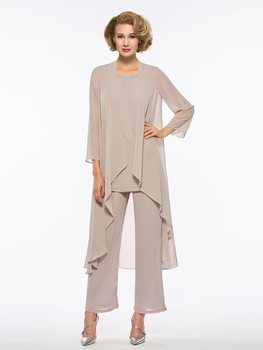 Elegant Loose Mother of the Bride Jumpsuits with Long Sleeve Jacket 2020 Three Piece Wedding Party Gowns Pants Suits Vestiods