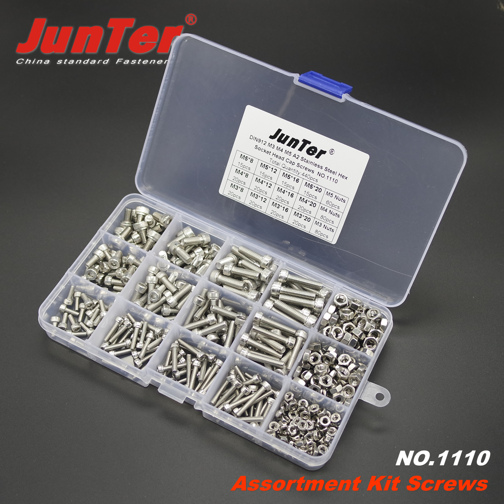Image 2 - 440pcs M3 M4 M5 A2 Stainless Steel DIN912 Allen Bolts Hex Socket Head Cap Screws With Nuts Assortment Kit NO.1110-in Bolts from Home Improvement