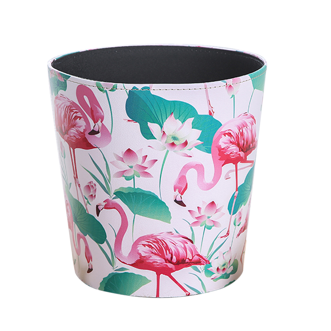 HIPSTEEN British Style Flamingo Pattern Trash Bin Household Uncovered Garbage Can Decoration