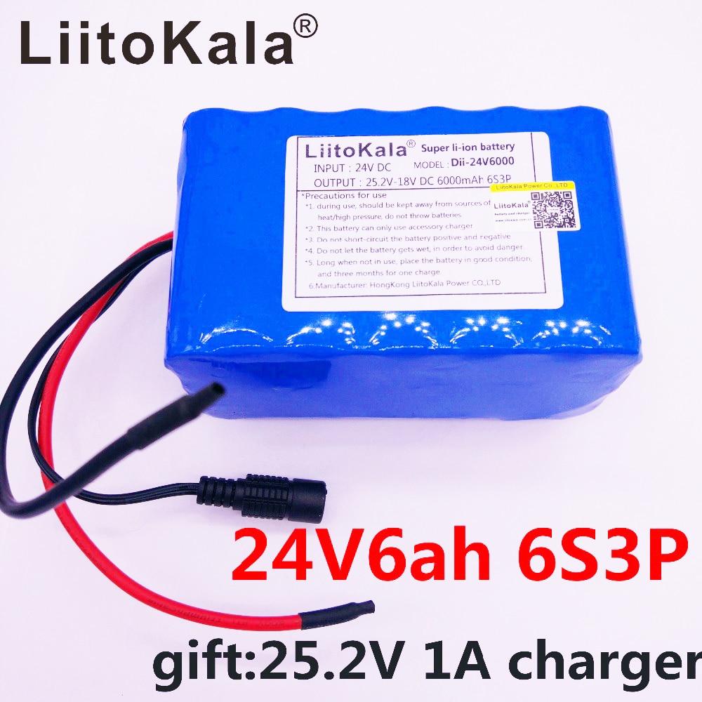 HK LiitoKala 6S3P 24V 6Ah Battery Pack 25 2V 18650 Battery 6000mAh Rechargeable Battery For GPS