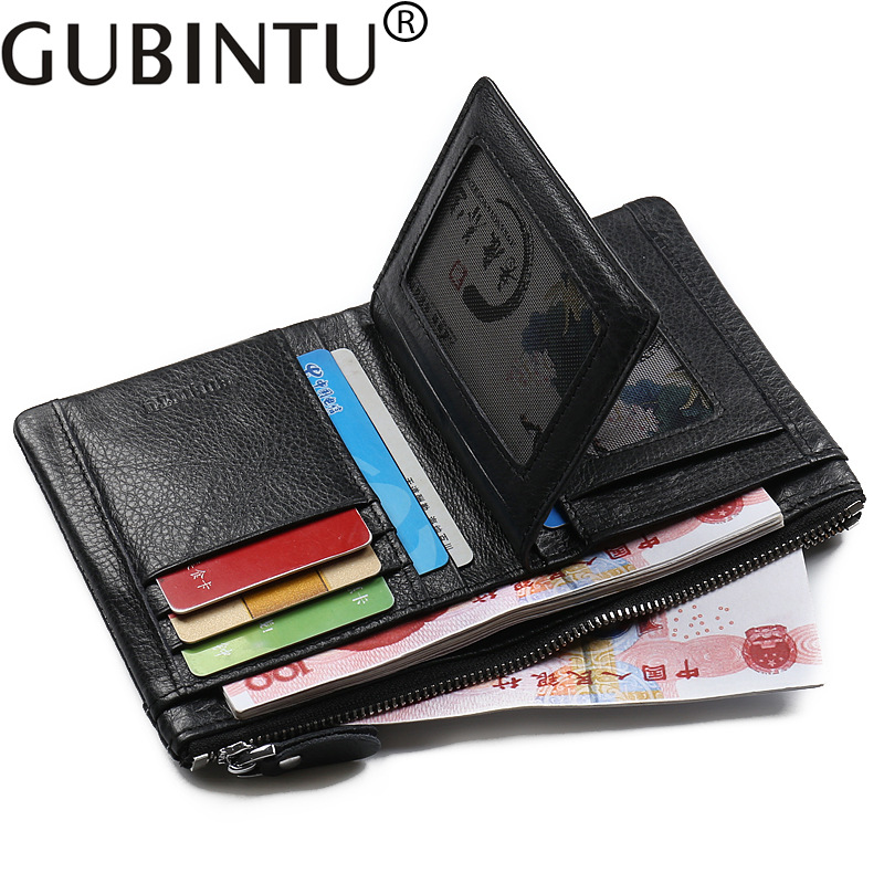 Gubintu Fashion Luxury Cowhide Men Genuine Leather Wallet Male Purse Coin Perse Small Walet Cuzdan Vallet Card Holder Money Bag