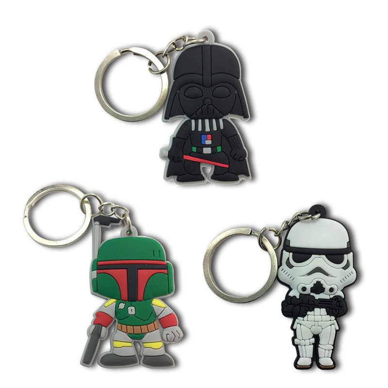 1 piezas Star Wars llaveros de dibujos animados figura clave titular de los niños DIY juguete colgante de fiesta de Navidad regalos