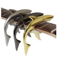 Envío libre de Metal personalidad tiburón modelado de modulación clip, envío libre de gama alta de sonido de la guitarra capo