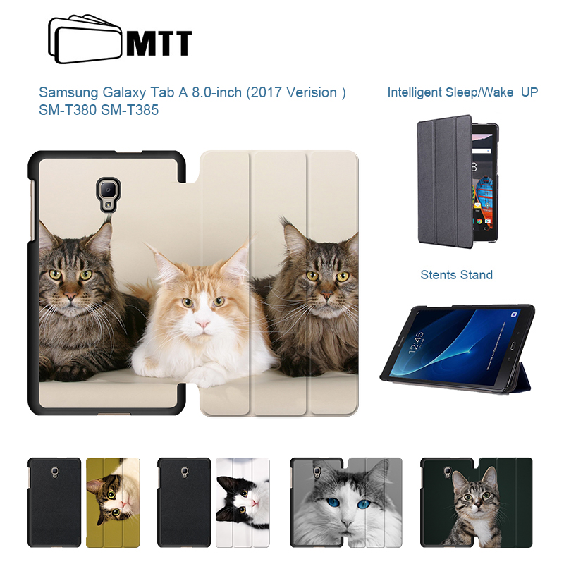 Cute Pet Cats Printed PU Leather For 2017 Samsung Galaxy Tab 8.0 A2 S T380 T385 Case for Sm-T385 Stand Tablet Cover 8 inch cartoon colorful case for samsung galaxy tab a 8 0 t380 sm t385 2017 smart cover funda tablet stand pu leather shell film pen