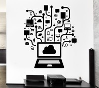 Removable Vinyl Wall Decal Computer Online Social Network Gamer Internet Teen PC Mural Wall Sticker Office Room Home Decoration