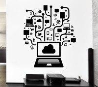 Smontabile della parete del vinile della decalcomania del computer online social network gamer internet teenager pc murale wall sticker stanza ufficio decorazione della casa