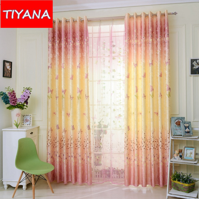 Romantic Butterfly And Floral Window Curtains For Bedroom Blue ...