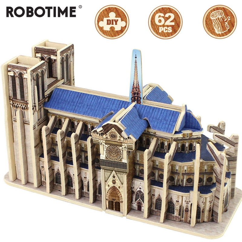 Memorável Robotime DIY 3D Notre dame de Paris Jogo de Puzzle De Madeira Montagem de Brinquedo de Presente para Crianças e Adultos Amigo MJ404