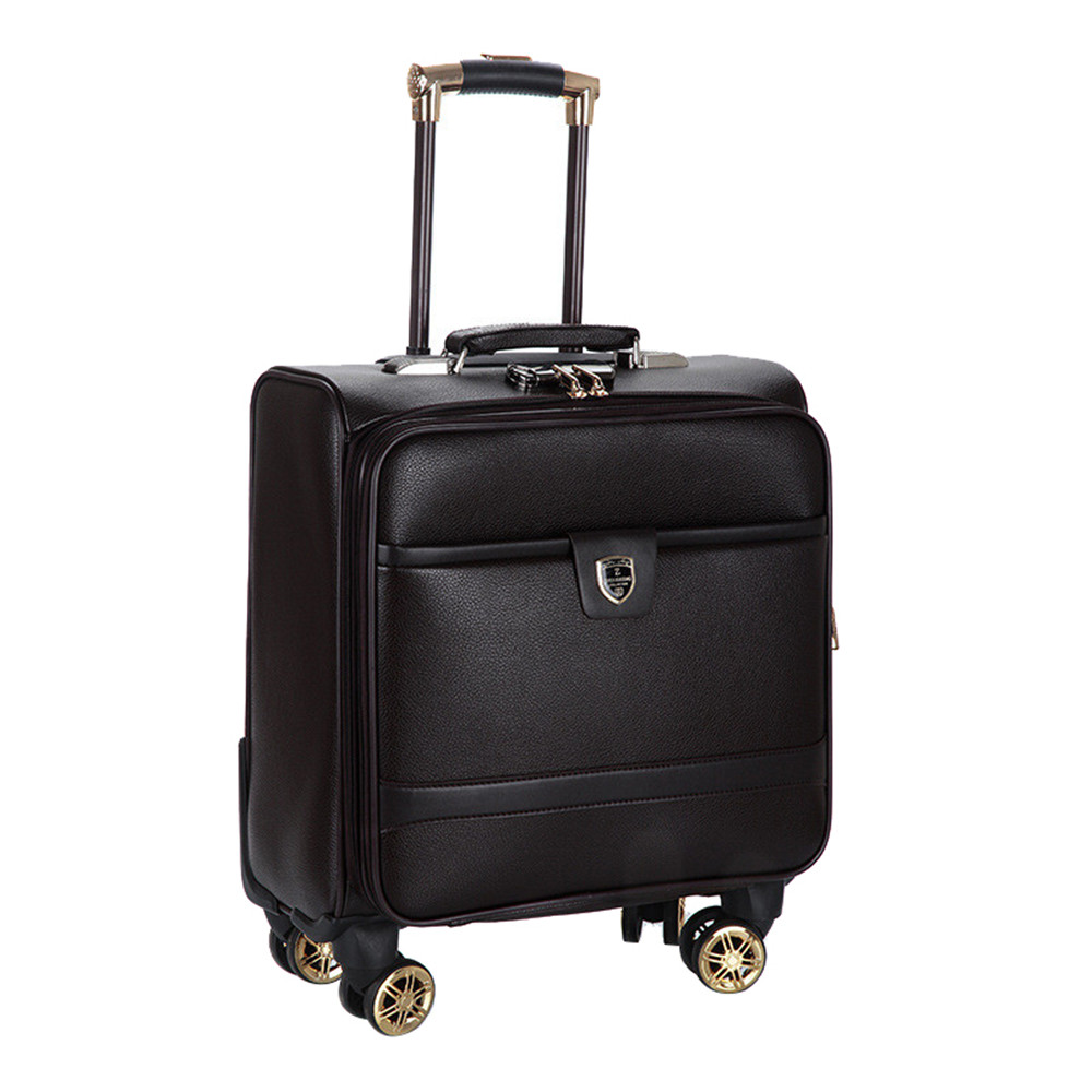 16 Inch New PU leather trolley suitcase Spinner wheels boarding box men women Business travel case rolling luggage