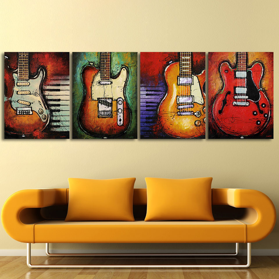 4 Panels print canvas art music Guitar oil painting on canvas home ...