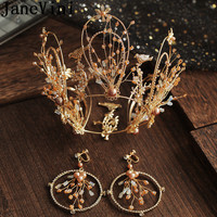 JaneVini Gothic Women Gold Crown Headwear Pageant Baroque Beaded Crystals Bridal Crowns Earring Bride Wedding Hair Accessories
