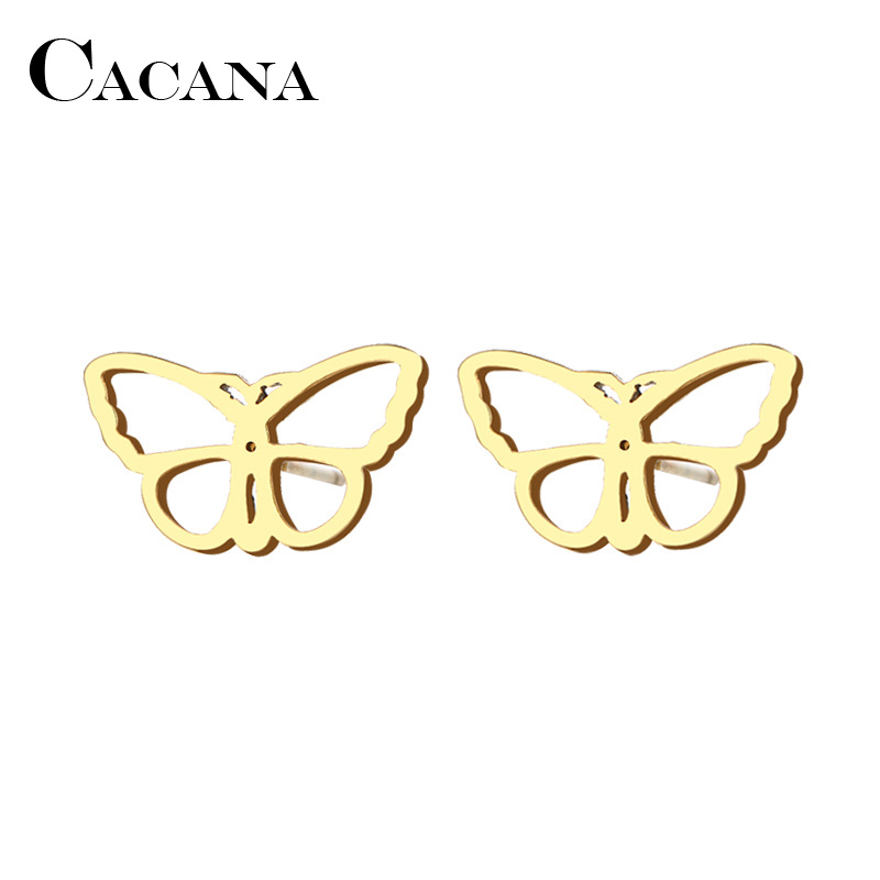 CACANA Stainless Steel Stud Earring For Women Man Beauty Butterfly Gold And Silver Color Lovers Engagement Jewelry