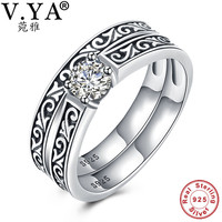 V YA Vintage 925 Sterling Silver Double Rings Sets For Women Female Engagement Ring Fine Jewelry