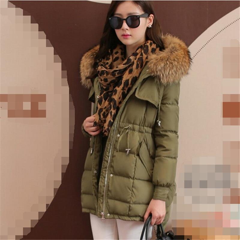 2015 New winter women duck jacket coat thick big fur collar hooded loose coats medium-long plus size parka RY565