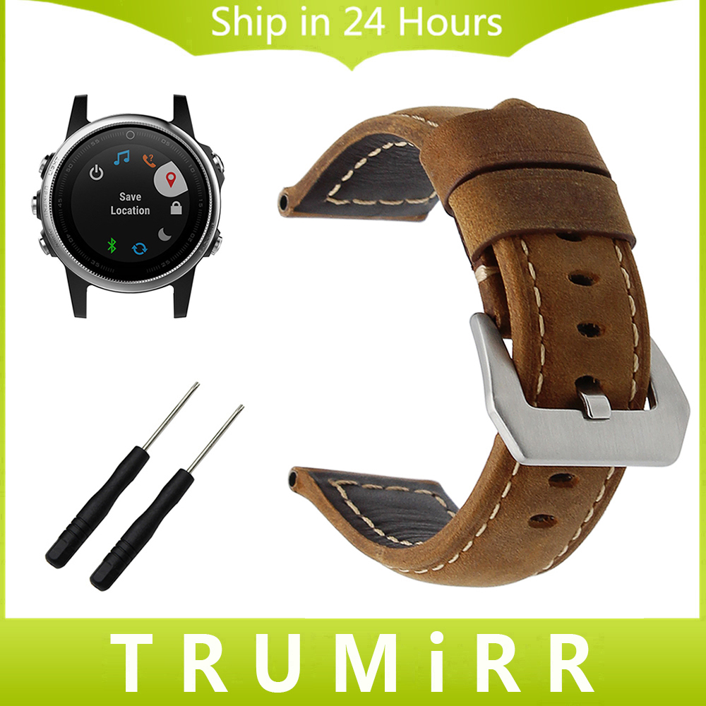 Genuine Leather Watchband 22mm 24mm for Garmin Fenix 5S 5 Epix Vivoactive HR Forerunner 935 FR935 Steel Buckle Band Wrist Strap stainless steel watchband for garmin fenix 5 5s epix forerunner 935 fr935 vivoactive hr elastic watch band link strap 20 22 24mm