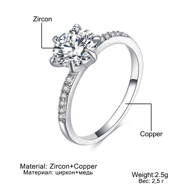 KISS WIFE Classic Engagement Ring 6 Claws Design AAA White Cubic Zircon Female Women Wedding Band CZ Rings Jewelry