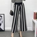 33 new winter women's new knitted pants striped waist strap nine feet pants F1472