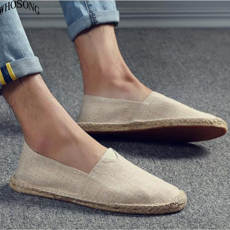 WHOSONG Men's Canvas Shoes Footwear Loafers Moccasins Lazy-Flats Hemp Male Breathable