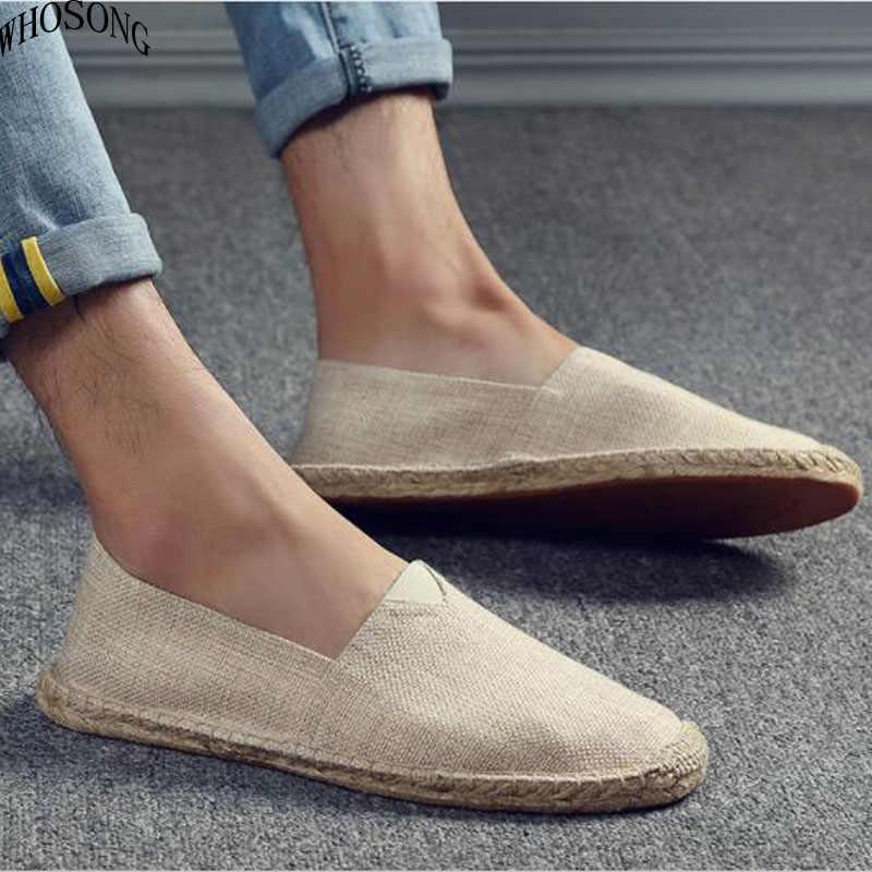 WHOSONG ฤดูร้อน Breathable รองเท้าผู้ชายผ้าใบรองเท้า Hemp ขี้เกียจรองเท้าสำหรับชายราคาถูกรองเท้าแตะ Loafers ชายรองเท้า M237