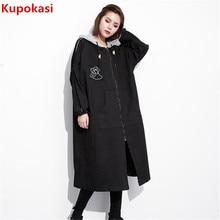 2017 Autumn Winter New Hooded Neck Black Plus Size Letter Women Coat High Waist Overcoat Irregular Topcoat Women parka