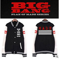 2017 New Hot Baseball clothes BIGBANG K-POP GD Right Zhi-Long College style Unisex Black stitching Cotton Letters printing coat