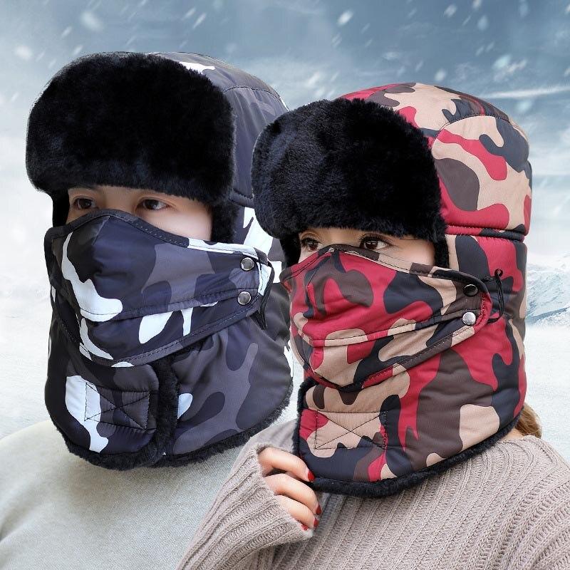 Men Winter Bomber Hats Outdoor Cap Army Russian Hat Camouflage Skull Mask Cap -MX8