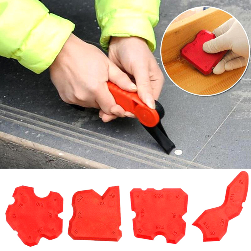 4pcs/set Red Caulking Tool Kit Joint Sealant Silicone Grouts Remover Scraper Floor Cleaner Tile Cleaner Handmade Tools