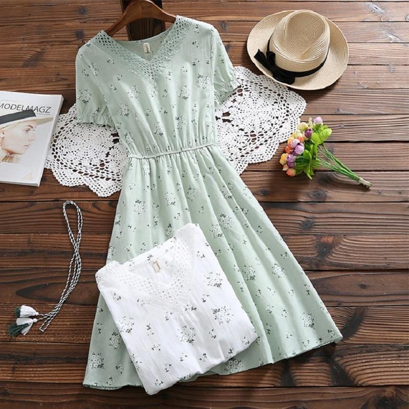 Summer Floral Print Cotton Linen Women Dress V Neck Elegant Short Sleeve Vestidos De Festa Mori Girl Flower Sweet Chic Dress Платье