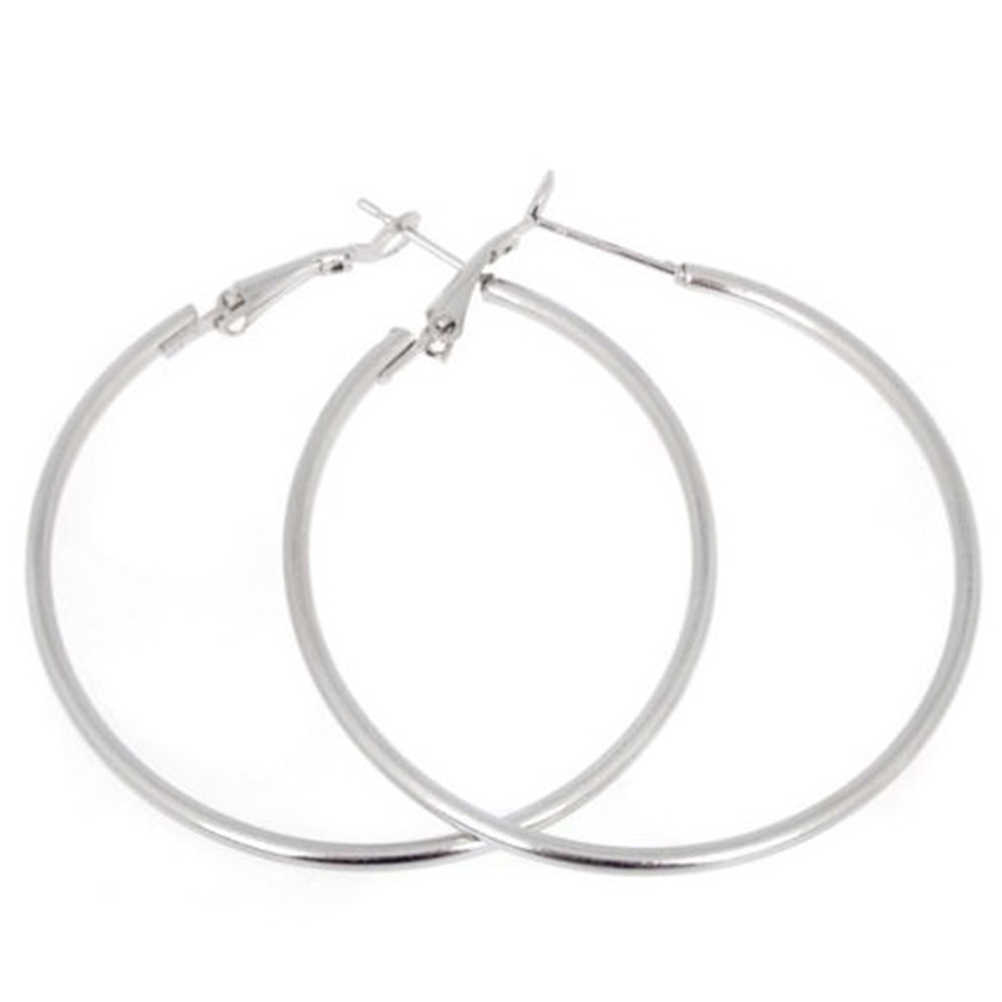 Vintage Alloy Silver and gold-color Round Loop Hoop Earrings Party Jewelry Personality Super Big Circle Earrings Boho Style