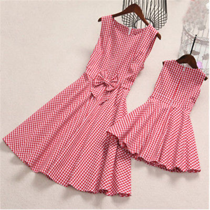 4-8T Mom and Daughter Garments Bowknot Plaid Bow costume Household Matching Outfits Pleated Women Clothes Matching Household Outfits, Low-cost Matching Household Outfits, Four 8T Mom and Daughter Garments Bowknot...