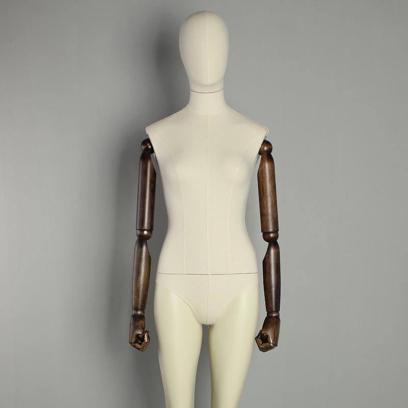 Egg head adjustable mannequin wooden arm female mannequin