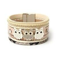ZG nieuwe lederen armband, uil, glas, tassell, Bohemian armbanden & bangles voor vrouwen sieraden groothandel