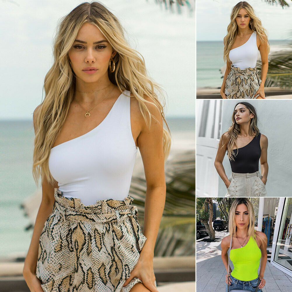 Summer Sexy Skinny One Shoulder Sleeveless Jumpsuit Bodycon Solid Bodysuit Leotard Top Ladies Women Romper