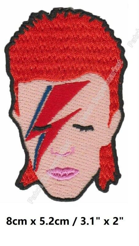 """3.1 """"David Bowie visage rouge cheveux fer sur patchs ROCK PUNK bricolage badge brodé rockabilly musique groupe pop électronique expérimental-in Patches à coudre from Maison & Animalerie    1"""