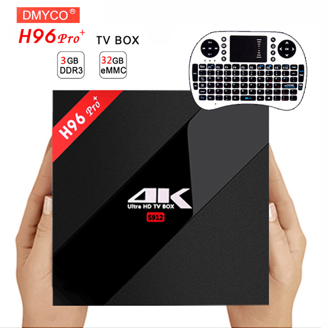 H96 PRO+ Android 7.1 TV Box Amlogic S912 Octa Core 3G/32G ROM WiFi 2.4G/5.0G BT4.1 KD Fully Loaded H.265 DLNA Miracast 4K Player