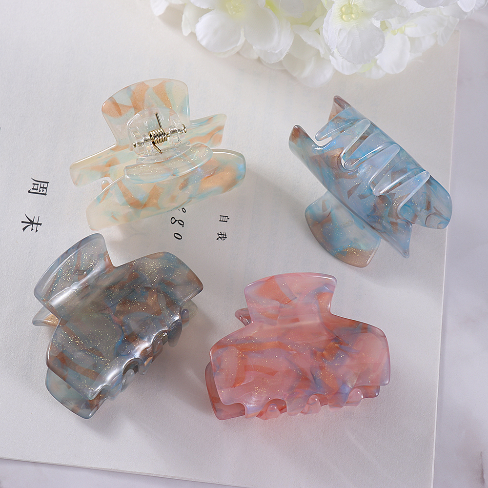 Hair Claw Clips Barrette Clamp Jelly Colors Acrylic Ponytail Crab Girls Hair Updo Hairpin Hair Styling Accessories For Women